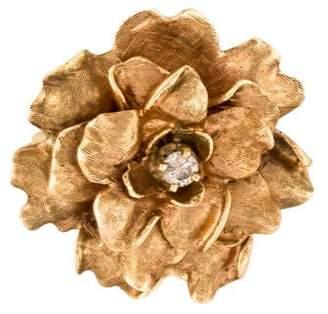 14K Diamond Flower Brooch Pin