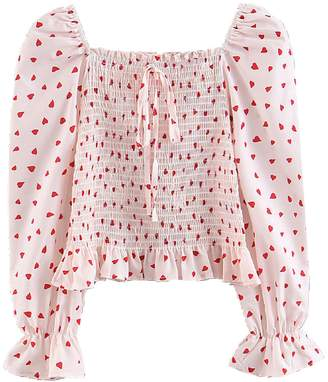 Goodnight Macaroon 'Alice' Heart Pattern Ruched Top