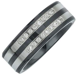 Armani Exchange Jewelry Mens Diamond Double Row Band in Ceramic and Stainless Steel (0.20 carats, H-I I3)