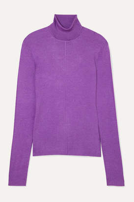 Sally LaPointe Ribbed Cashmere And Silk-blend Turtleneck Sweater - Purple