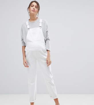 Asos DESIGN Maternity denim dungaree in off white