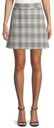 Theory High-Waist Mini Brea Check Skirt