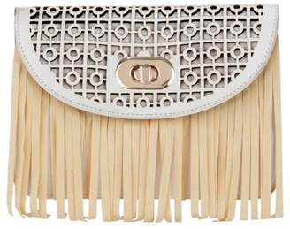 Toms Vangoddy Women's Faux Patent Leather Fringe Crossbody Purse with Detachable Vegan Leather Strap