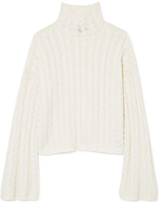 Theory Horseshoes Cable-knit Cashmere Turtleneck Sweater - Ivory
