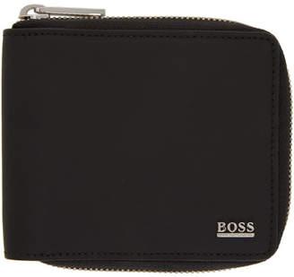 BOSS Black Rubberized Leather Wallet