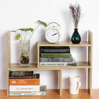 Yosoo DIY Table Desktop Storage Rack Display Shelf Organizer Counter Top Fashion Active Bookcase Magazine Holder Home Office Use Book Holder (Wood)