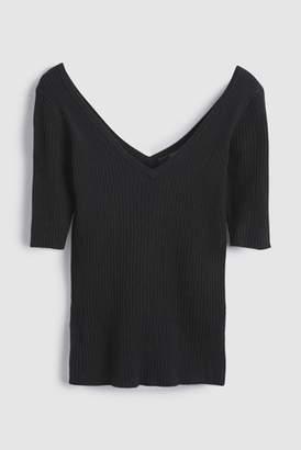 Next Womens Black V-Neck Knitted T-Shirt