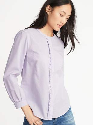 Old Navy Relaxed Ruffle-Trim Shirt for Women