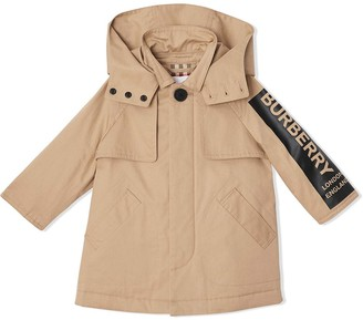 Burberry detachable hood logo print twill car coat