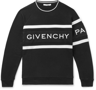 Givenchy Logo-Embroidered Striped Loopback Cotton-Jersey Sweatshirt - Men - Black
