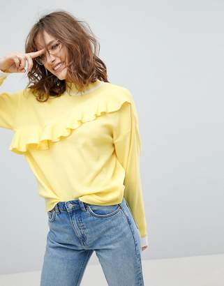 Asos Design Jumper with Ruffle in Structured Knit