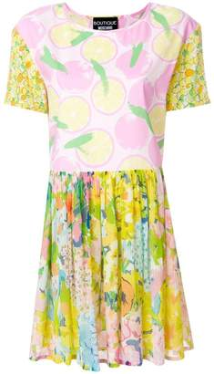 Moschino mixed print pleated dress