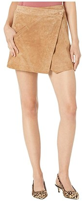 Blank NYC Real Suede Mini Skirt in Almond