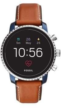 Fossil Q Explorist HR Leather-Strap Gen 4 Touchscreen Smartwatch