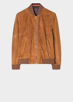 Paul Smith Men's Tan Suede Bomber Jacket With 'Artist Stripe' Cuff Linings