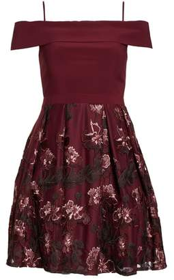 Morgan & Co. Embellished Cold Shoulder Fit & Flare Dress