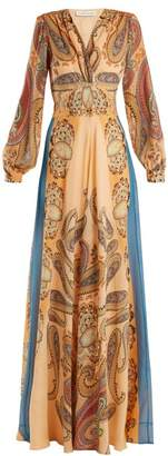 Etro Jasper Paisley Silk Dress - Womens - Orange Multi