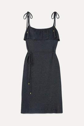 Vanessa Seward Fidji Metallic Ribbed Cotton-blend Dress - Midnight blue