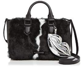KENDALL + KYLIE Claire Leather & Faux Fur Satchel