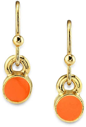 2028 14K Gold Dipped Small Round Enamel Wire Drop Earring