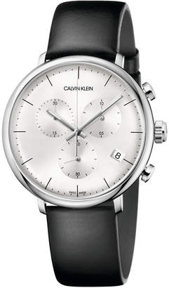 Calvin Klein Men Swiss Chronograph High Noon Black Leather Strap Watch 40mm
