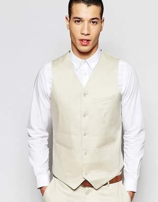 Asos Design Skinny Waistcoat In Linen Mix