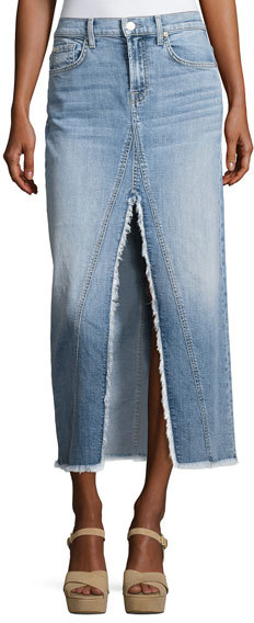 7 For All Mankind 7 For All Mankind Long Denim Skirt with Front Slit, Indigo