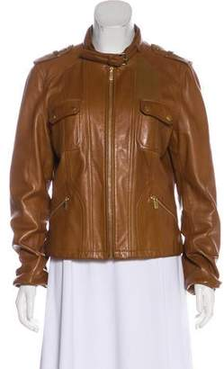 Michael Kors Leather Buckle-Accented Jacket