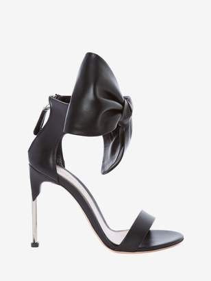 Alexander McQueen Pin Heel Leather Bow Sandal