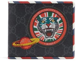 Gucci - Gg Supreme Tiger And Planet Patch Wallet - Mens - Black Multi