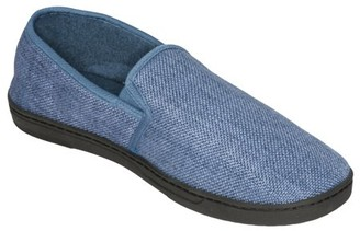 Deluxe Comfort Men's Memory Foam Slipper, Size 11-12 Soft Linen 120D SBR Insole and Rubber Outsole Pure Suede Shoes Non-Marking Sole Men's Slippers, Blue