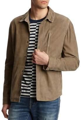 John Varvatos Men's Nik Zip-Front Suede Shirt Jacket with Crackle Detail