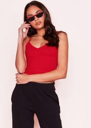 dd0fb827a85 Missy Empire Missyempire Ariel Red Ribbed Crop Top