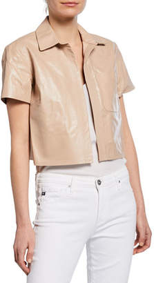 SABLYN Kennedy Cropped Leather Short-Sleeve Jacket