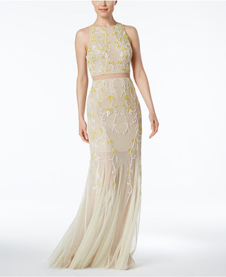 Adrianna Papell Illusion 2-Pc. Beaded Gown $349 thestylecure.com
