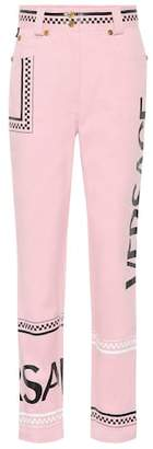 Versace Printed high-rise straight jeans
