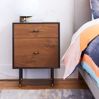 west elm Modernist Wood + Lacquer Nightstand - Anthracite