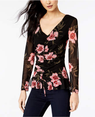 INC International Concepts I.N.C. Floral-Print Ruched-Front Top, Created for Macy's