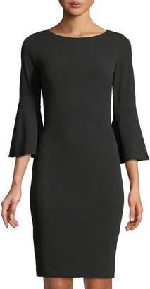 Iconic American Designer Pearlescent Bell-Sleeve Sheath Dress