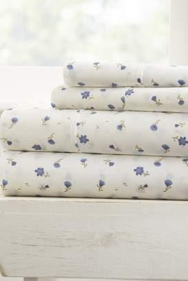 IENJOY HOME Home Spun Premium Ultra Soft Floral Pattern 4-Piece California King Bed Sheet Set - Light Blue