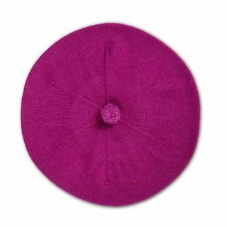 Fallon Asneh Purple Pom-Pom Knitted Silk Cashmere Beret