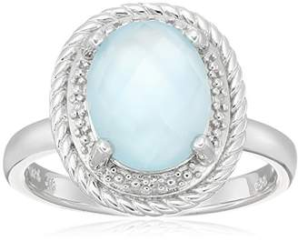 Mother of Pearl Sterling Oval Rope White Mother-of-Pearl Over Baby Blue-Topaz Doublet and Diamond Accent Ring