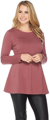 Denim & Co. Essentials Long Sleeve Round Neck Fit and Flare Tunic
