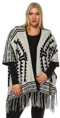 WHITE MARK White Mark Aztec Poncho-Plus