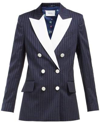 Racil Casablanca Double Breasted Pinstripe Tuxedo Jacket - Womens - Navy White