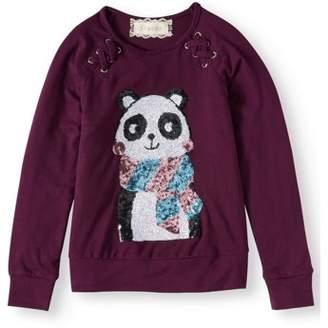 Btween Girls' Sequin Panda Lace Up Top