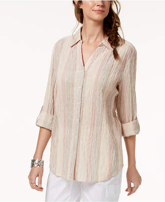 Style&Co. Style & Co Striped Crinkle Button-Down Shirt, Created for Macy's