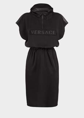 Versace Rubberized Logo Hooded Dress