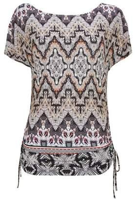 Wallis Black Tribal Print Drawstring T-Shirt