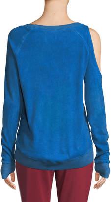 Pam & Gela Femme One-Sided Cold Shoulder Sweatshirt